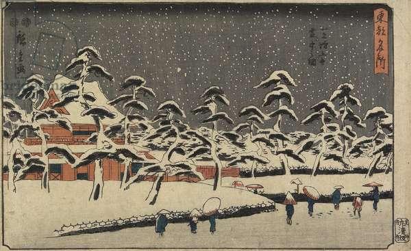 Snow View of Zo_jo_ji Temple at Shiba, 1847-1852