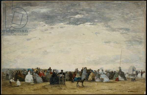 Vacationers on the Beach at Trouville, 1864 (oil on canvas)