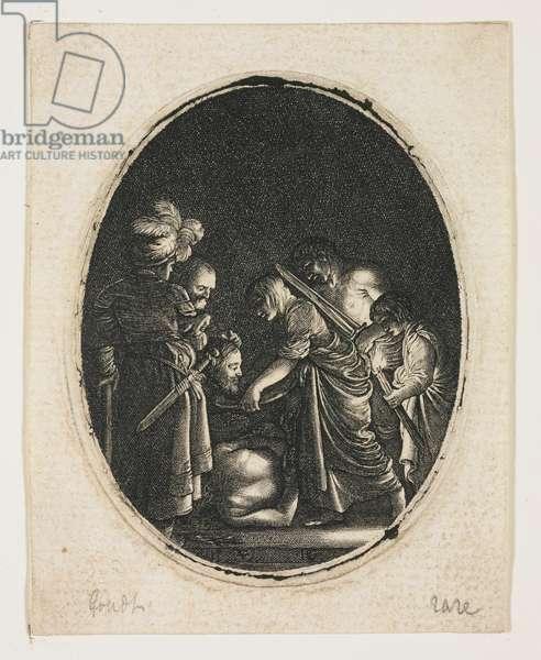 Salome Receiving the Head of Saint John, engraved by Hendrik Goudt (1583-1648), c.1607-09 (engraving)