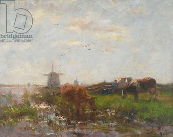 Cattle Grazing at the Water's Edge, c.1880-90 (oil on canvas)