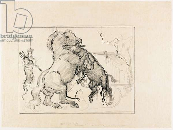 "Study for ""Stallion and Jack Fighting"", c. 1932-43 (pen & ink over graphite on tracing paper)"