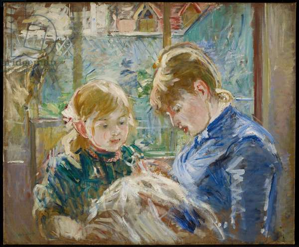 The Artist's Daughter, Julie, with her Nanny, c.1884 (oil on canvas)