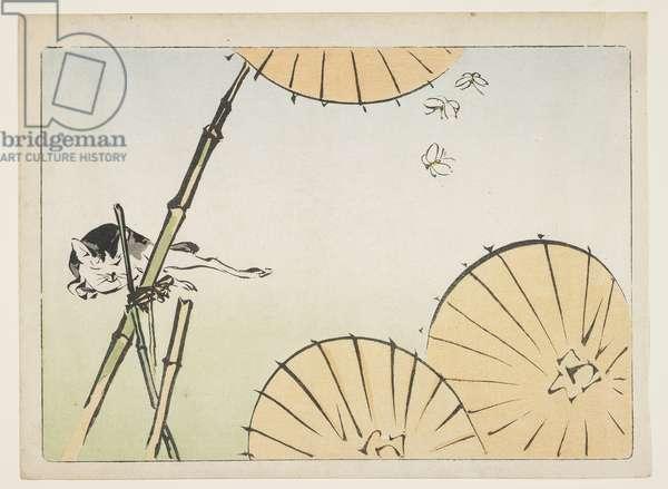 (Bamboo, umbrellas, a cat and butterflies), c. 1877