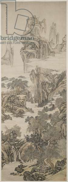 Landscape with Scholar Viewing a Waterfall, 1722 (ink & colour on paper)