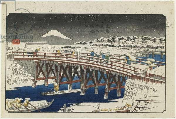 """""""Nihonbashi Bridge in Snow"""", 1839-1842"""