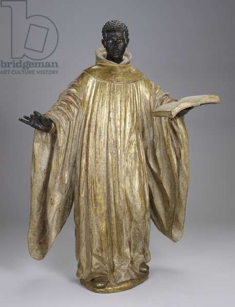 Saint Benedict of Palermo, c.1734 (polychrome & gilt wood with glass)