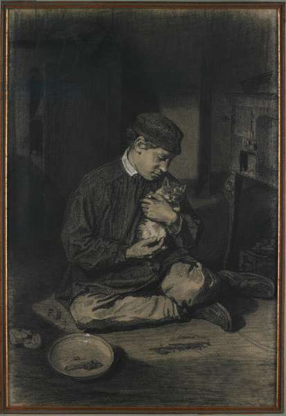 Seated Boy Holding a Cat (recto); Study of Kittens and a Plate of Milk (verso), c. 1874-80 (black chalk heightened with white chalk on off-white laid paper)