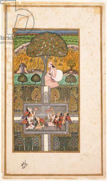 Raja Bikram and the Angels, illustration from the 'Gulsham-i-Ishq', c.1700 (w/c with gold on paper)