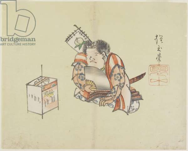 (Momotaro_ Using a Fan), c. 1830