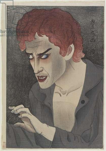 Actor Morita Kan'ya XIII (1907-75) as Jean Valjean, 1921 (colour woodblock print)