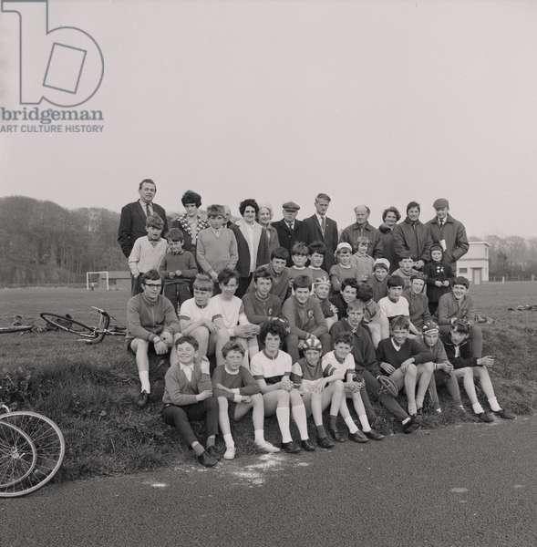 Cycle meeting, King George V Park, May 1968 (b/w photo)
