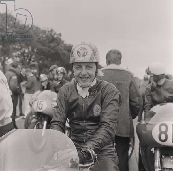 Manx Grand Prix arrivals and clocking in, August 1964 (b/w photo)