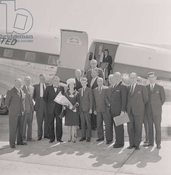 Millionth passenger, Silver City, Ronaldsway Airport, May 1963 (b/w photo)