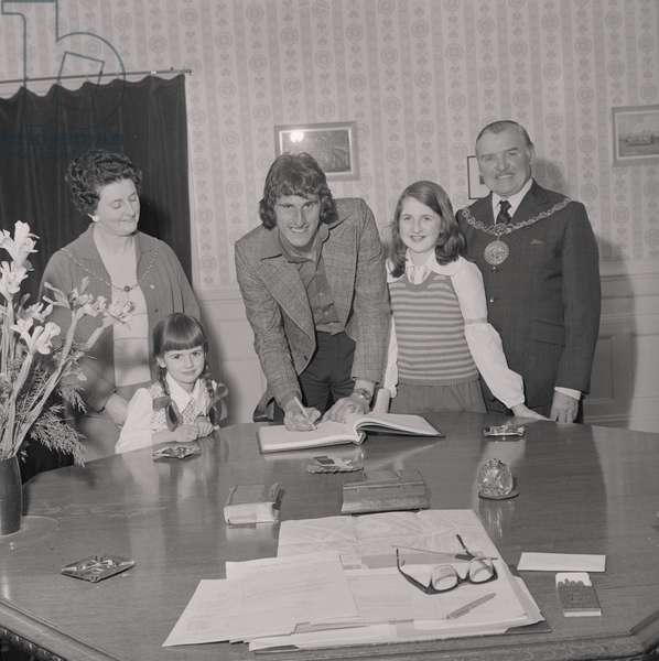 Ray Clemence, goalkeeper for Liverpool football team, in the Mayor's parlour, June 1974 (b/w photo)