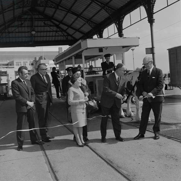 Horse trams opening, May 1973 (b/w photo)