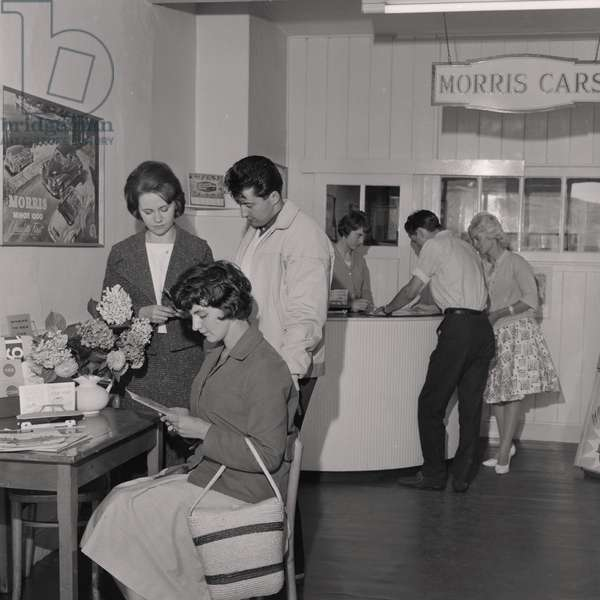 Central Motors hire showroom, August 1961 (b/w photo)