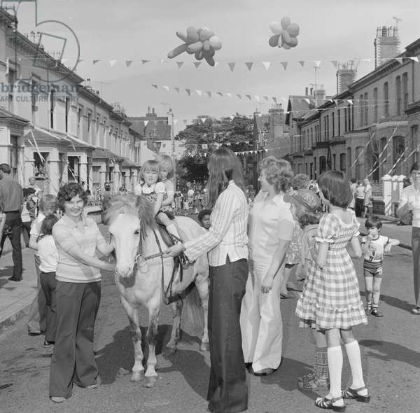 Queen's Silver Jubilee celebrations at Berkeley Street in Douglas, May 1977 (b/w photo)