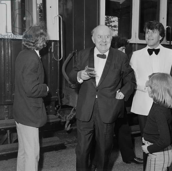 John Betjeman, Castle Rushen High School, Isle of Man, June 1976 (b/w photo)