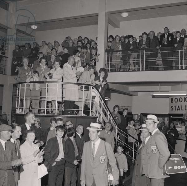 Empire Games Team arrive at Ronaldsway Airport, August 1966 (b/w photo)