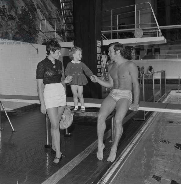 Swimmer at Derby Castle, June 1970 (b/w photo)