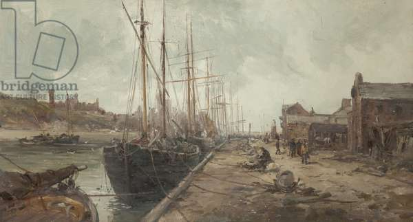 Peel Quay and Harbour (oil on canvas)
