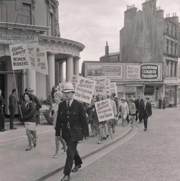 Women secretaries strike march, June 1969 (b/w photo)