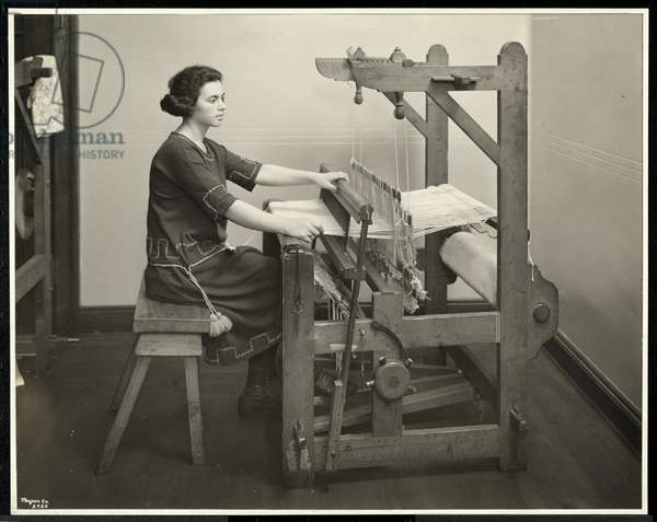Blind woman working at a loom at the New York Association for the Blind, 111 East 59th Street, New York, 1926 (silver gelatin print)