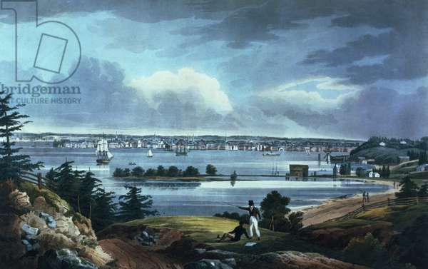 New York from Heights Near Brooklyn, 1820-23 (coloured aquatint)