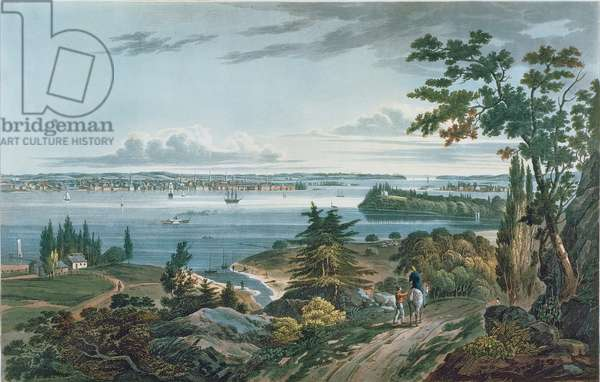 New York from Weehawk, engraved by I. Hill, 1820-3 (colour aquatint)