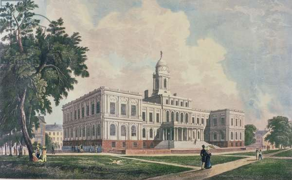 City Hall, engraved, printed and coloured by I. Hill, 1826 (colour litho)