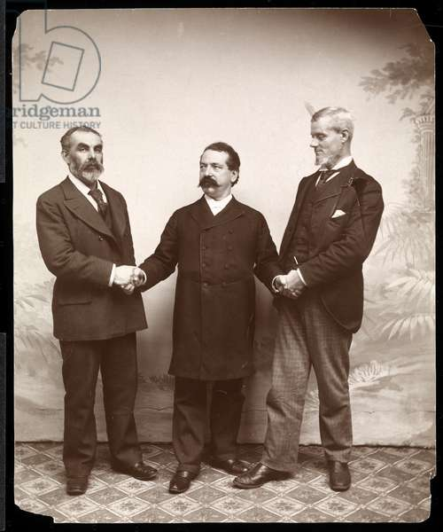 Labour leaders Samuel Gompers, John Burns and Holmes, 1893-4 (silver gelatin print)
