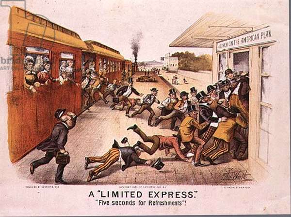 A 'Limited Express','Five Seconds for Refreshments', pub. by Currier and Ives in New York, 1884 (colour litho)