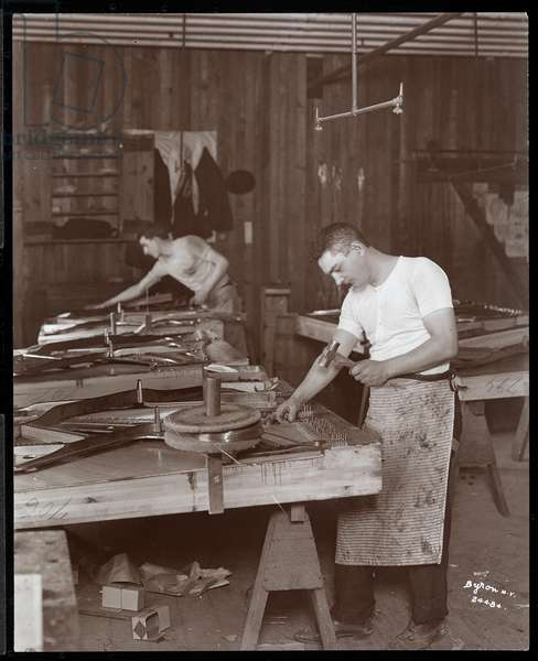 Two men working in the Harrington Piano Co. factory, 1907 (silver gelatin print)
