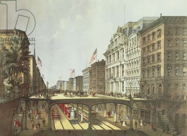 Proposed Arcade Railway, under Broadway, view near Wall Street, pub. by Ferd. Mayer and Sons, New York, 1869 (colour litho)