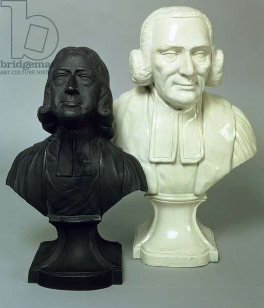 Portrait busts of John Wesley (1703-91) and George Whitefield (1714-70) c.1780-90 (marble)