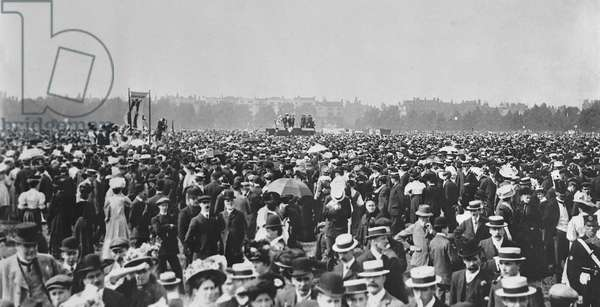 Suffragette Movement Rally in Hyde Park, June 1908 (b/w photo)