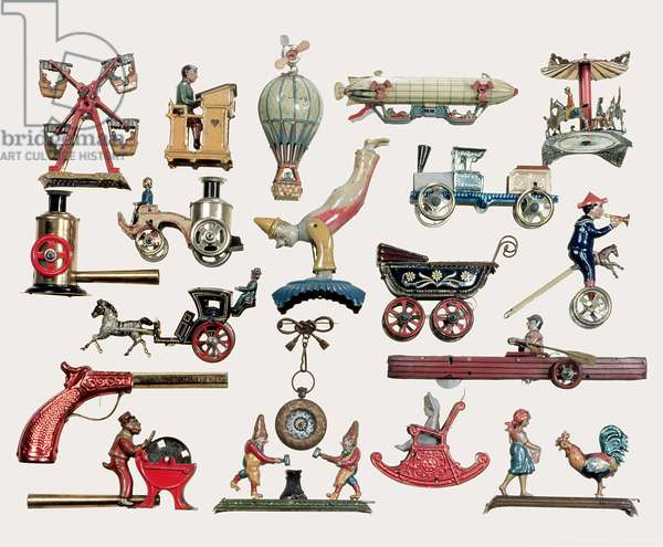 Painted tin penny toys, German, c.1890 (tin)