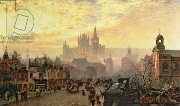 From Pentonville Road Looking West, London, Evening (oil on canvas)