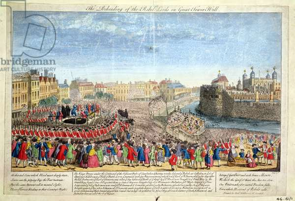 The Beheading of the Rebel Lords on Great Tower Hill, 1746 (coloured engraving)