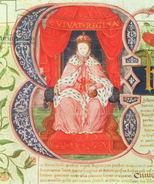 Historiated initial depicting Elizabeth I, 1559 (vellum)