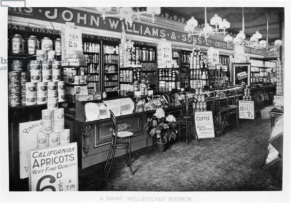 John Williams & Sons Grocer's Shops (b/w photo)