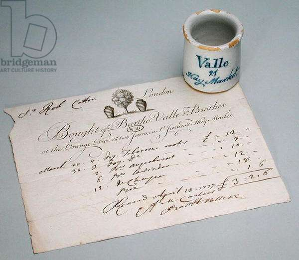 Barto Valle ointment jar and receipt