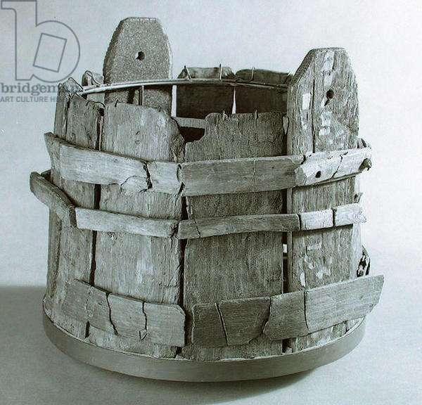 Bucket (wood) (b/w photo)
