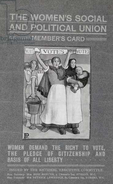 WSPU membership card (litho) (b/w photo)