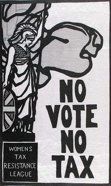 Tax Resistance League Banner, c.1912 (textile) (b/w photo)