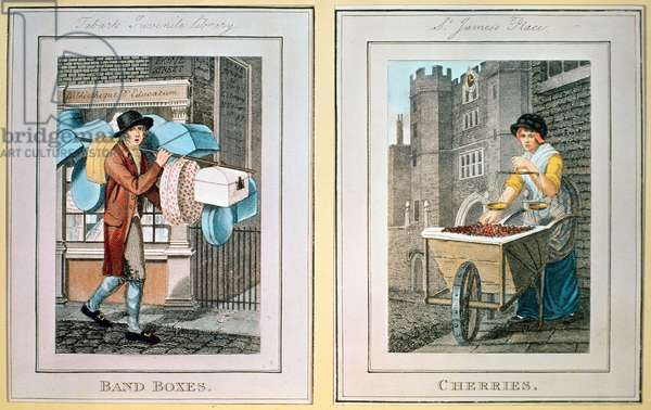'Band Boxes' and 'Cherries' from The Cries of London, pub. by R. Phillips, 1798 (coloured engraving)