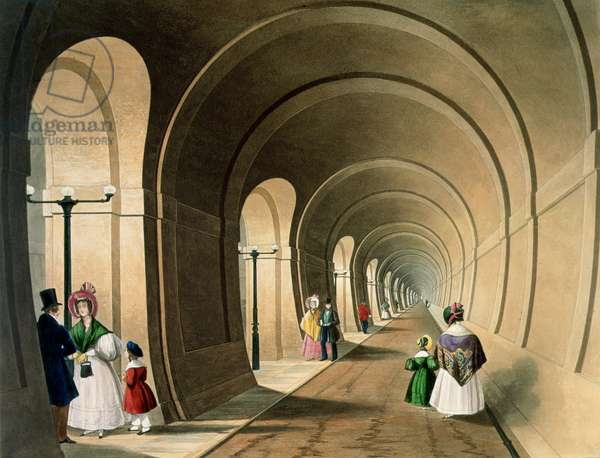 The Thames Tunnel, engraved by J. Harris, 1835 (coloured engraving)