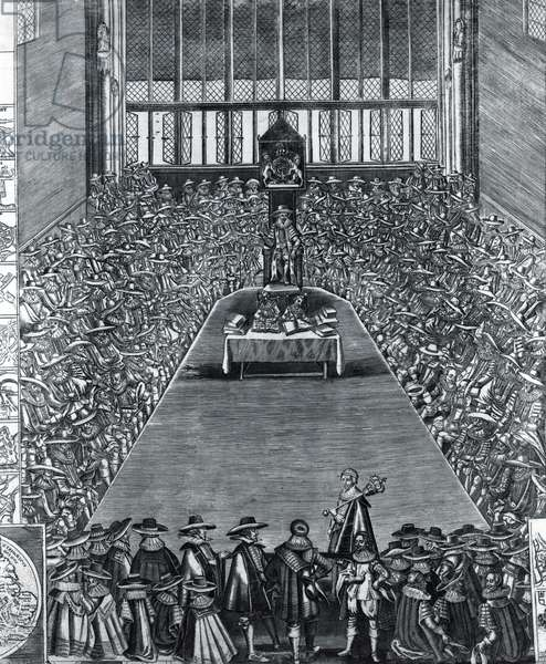 Parliament Assembled at Westminster on 13th April 1640 (engraving) (b/w photo)