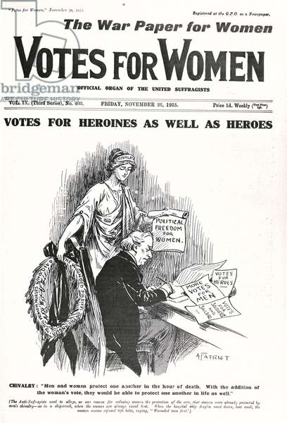 Front cover of 'Votes for Women', 26th November 1915 (litho) (b/w photo)