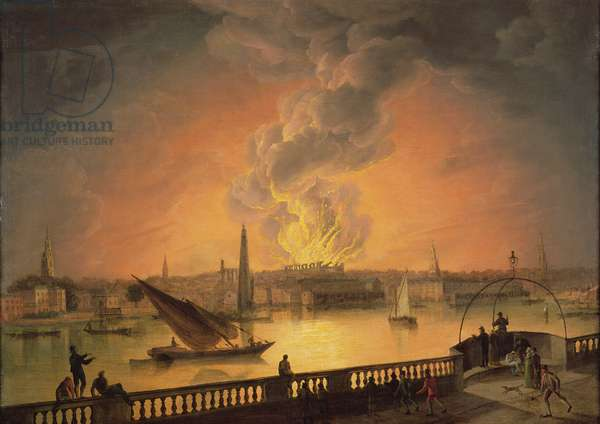 The Burning of Drury Lane Theatre from Westminster Bridge, 1809 (oil on canvas)